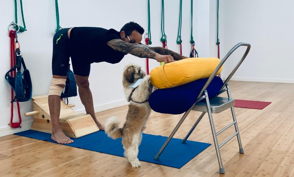 Buddha teaching Alfonso his version of Yoga's Dog Pose
